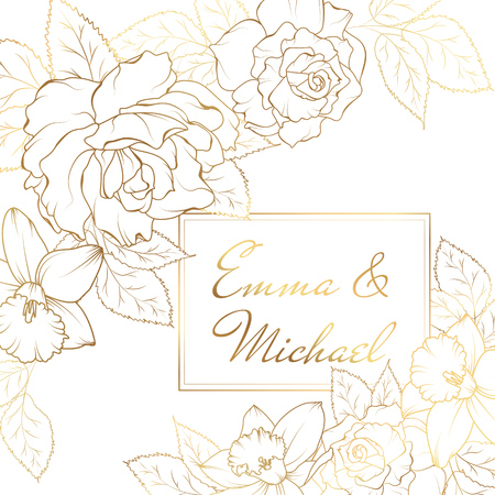 Narcissus daffodil rose flowers corner frame decoration. Wedding marriage event invitation card template. Modern luxury bright shiny golden gradient. Text placeholder. Vector design illustration.