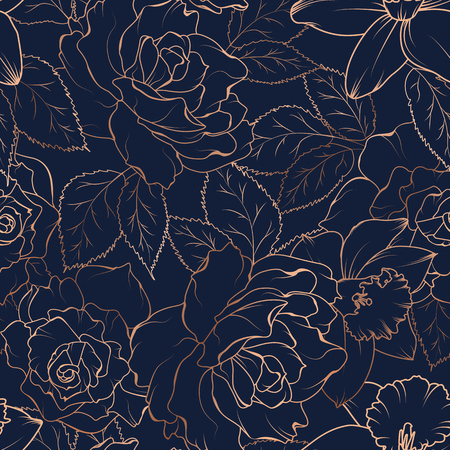 Floral spring seamless pattern. Rose peony daffodil narcissus bloom blossom leaves. Copper gold shiny outline navy dark blue background. Vector illustration for fashion, textile, fabric, decoration. 矢量图像