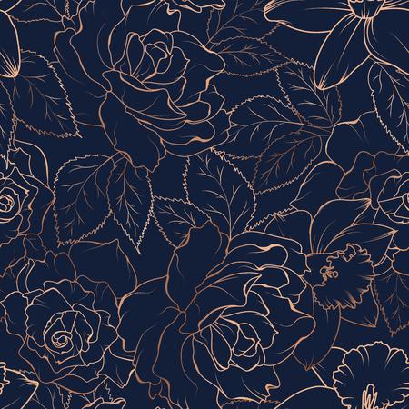Wzór kwiatowy wiosna. Róża piwonia żonkil narcyz kwitną liście kwiatów. Miedziany złoty błyszczący kontur granatowe tło. Ilustracja wektorowa dla mody, tekstyliów, tkanin, dekoracji.