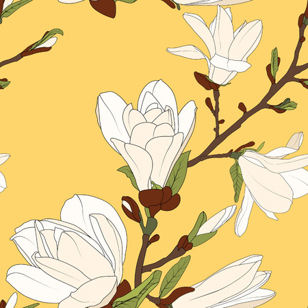 Magnolia tree branch flowers bloom blossom buds. Seamless botanical floral pattern. Bright yellow background. Vector design illustration.
