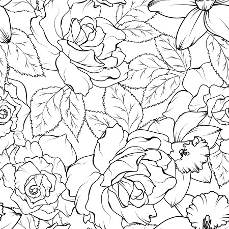 Floral spring seamless pattern. Rose peony daffodil narcissus flowers bloom blossom leaves. Black on white background. Vector illustration for fashion, textile, fabric, decoration.