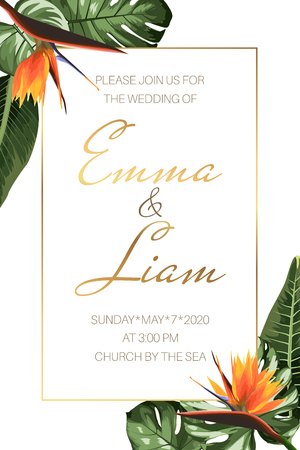 Wedding event invitation RSVP card template. Corner floral frame decorated with green monstera philodendron split leaves and bright orange strelitzia bird of paradise flowers. Luxury style.