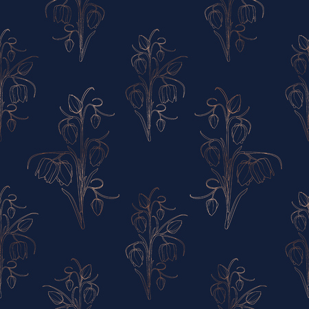 Wild tulip spring flowers stem leaves seamless pattern texture. Bright copper gold shiny outline on deep dark blue navy background. Vector illustration for fashion, textile, fabric, decoration. Illustration