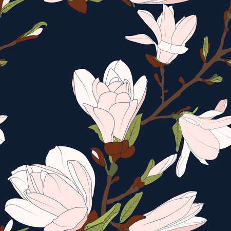 Magnolia tree botanical floral seamless pattern texture. Tender pink white bloom blossom branch buds on deep dark navy blue background. Spring summer flower. Vector design illustration.