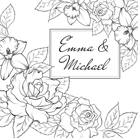 Narcissus daffodil rose flowers corner frame decoration. Wedding marriage event invitation card template. Modern black and white flowers card. Text placeholder. Vector design illustration.
