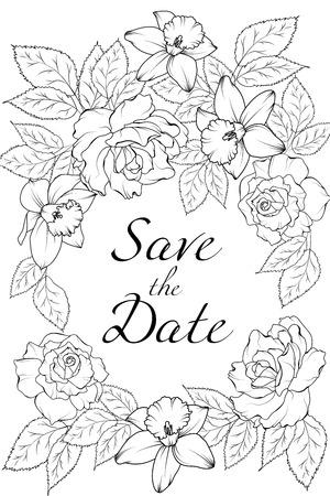 Il biglietto di auguri vintage primaverile con rose peonia narcisi fiori di narciso può essere utilizzato come biglietto d'invito per il compleanno di un matrimonio e altre vacanze e sfondo estivo. Bianco e nero.