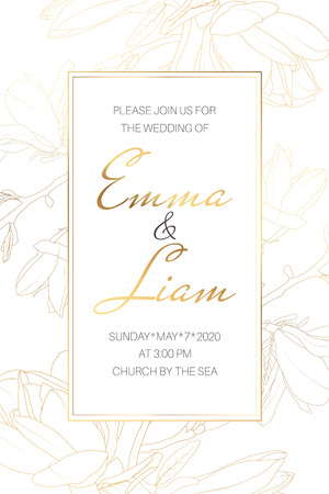Wedding marriage event invitation card template. Spring magnolia garden flowers. Detailed outline drawing. Rectangular vertical border frame with text placeholder. Luxury bright shiny golden. Illustration