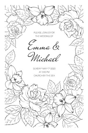 Vintage spring summer wedding marriage event invitation card template. Rose peony daffodil narcissus flowers bloom blossom leaves. Black on white background. Border frame. Text placeholder.