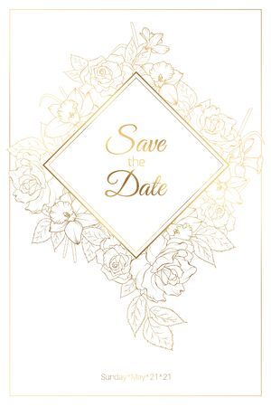 Wedding invitation card template with roses peony daffodil narcissus flowers. Square rhombus diamond shape floral decoration. Save the date. Stylish luxury bright shiny golden line drawing.