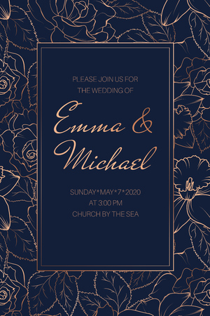 Wedding event invitation RSVP card template. Rose peony daffodil narcissus bloom blossom leaves. Copper gold shiny outline navy dark blue background. Rectangle border frame with text placeholder.