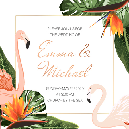 Wedding event invitation card template. Tropical bright green palm tree monstera philodendron leaves. Exotic pink flamingo birds couple. Orange strelitzia bird of paradise flowers. Corners decoration.