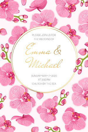 Wedding marriage event invitation card template. Vertical landscape orientation rectangular border frame corners decorated with blooming bright pink purple orchid phalaenopsis flowers.