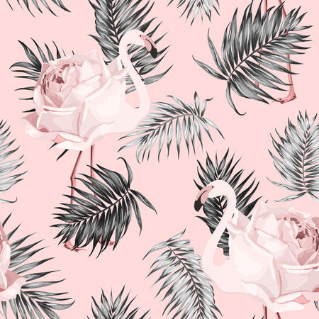 Jungle rainforest royal palm tree leaves isolated whith rose flaminfo on pink background. Exotic tropical camouflage seamless pattern texture. Feather shaped branch. Vector design illustration Ilustração