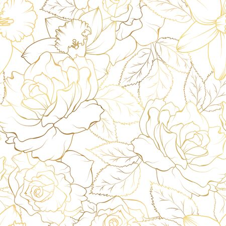 Floral spring seamless pattern. Rose peony daffodil narcissus bloom blossom leaves. Gold shiny outline on white background. Vector illustration for fashion, textile, fabric, decoration. Vettoriali