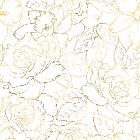 Nahtloses Muster des Blumenfrühlings. Rose Pfingstrose Narzisse Narzisse Blüte Blütenblätter. Goldglänzender Umriss auf weißem Hintergrund. Vektorillustration für Mode, Textil, Stoff, Dekoration.