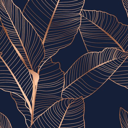 Banana tree leaf semless pattern. Copper gold shiny outline navy dark blue background. Vector illustration for fashion, textile, fabric, decoration.