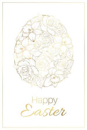 Floral golden easter egg white background.
