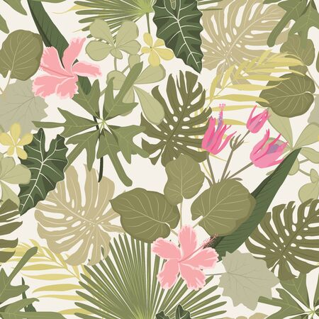 Summer colorful hawaiian seamless pattern with tropical plants and hibiscus flowers, vector illustration beige background.
