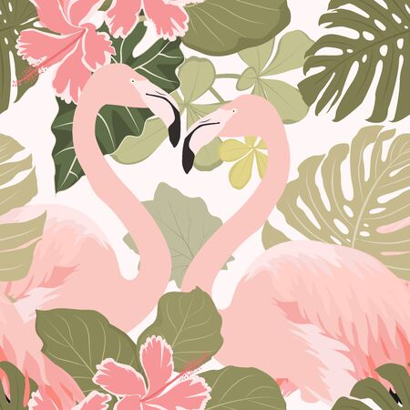 Flamingo birds couple with exotic tropical flowers and leaves. Seamless pattern. Pink and green on white background. Vector design illustration.