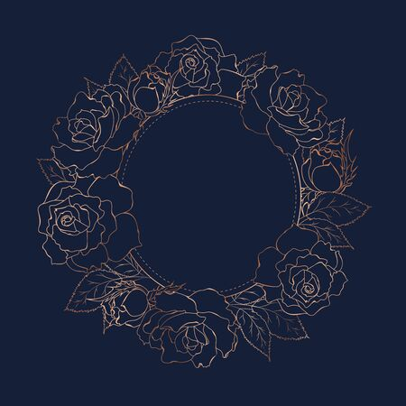 Rose peony flowers bloom blossom wreath round circle decoration. Copper gold shiny outline navy dark blue background. Floral line design template. Vector illustration.