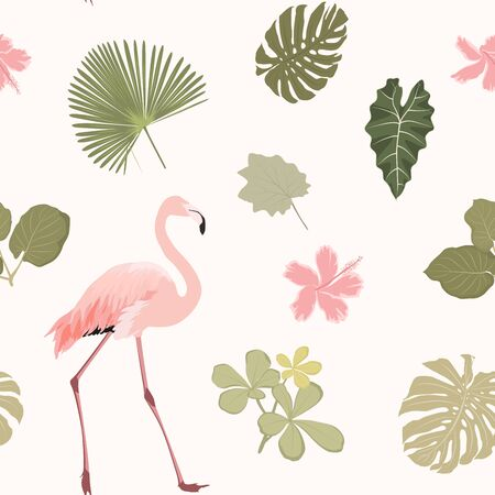 Bright hibiscus flowers, exotic pink flamingo bird, tropical rainforest jungle tree palm mostera green leaves. Seamless pattern on beige background. Vector design illustration.