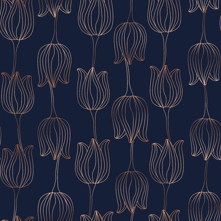 Floral spring seamless pattern. Tulip bloom blossom leaves. Copper gold shiny outline navy dark blue background. Vector illustration for fashion, textile, fabric, decoration.