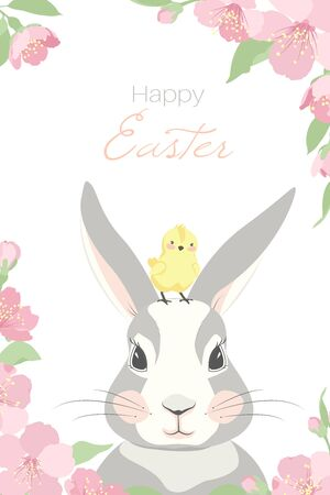 Cute Easter bunny rabbit with chicken. Happy Easter. Flat design. Pastel color sacura cherry flowers background. Vector illustration