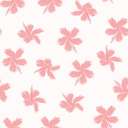 Seamless exotic tropical flower. Beautiful fabric pattern with a pink angel hibiscus flowers isolated over white background. Blossom hibiskus for seamless pattern background.