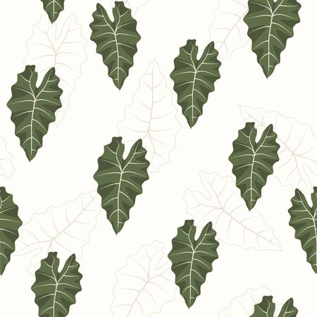 Seamless tropical green leaf pattern line art background.