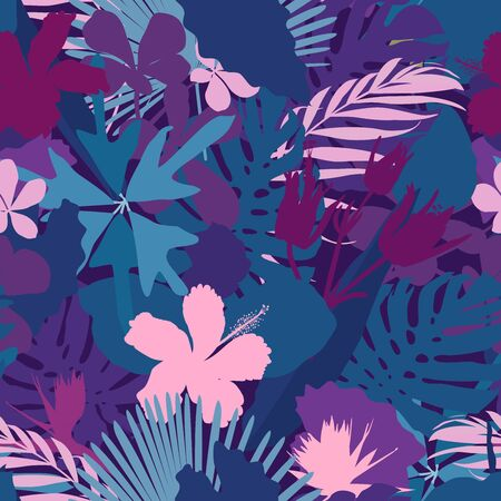 Colorful and bright summer silhouette abstract seamless pattern with leaves and flowers background on modern style. Jungle trees palm monstera philodendron leaves exotic pattern