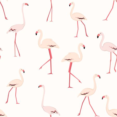 Pink flamingos seamless pattern. Standing posture. Zoo bird park. Vector design illustration.