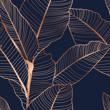 Banana palm tree leaves seamless pattern texture. Exotic tropical jungle forest. Copper gold shiny glow outline. Navy dark blue background. Vector design illustration for fashion, fabric, textile. Vettoriali