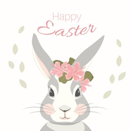 Easter bunny rabbit hare mascot character face. Flowers leaves decoration. Isolated on white background. Greeting card template. Text label placeholder. Vector design illustration.