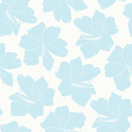 Floral seamless pattern. Light sky blue lily flowers on white background. Spring summer pattern. Vector design illustration for textile, fabric, print. Vettoriali