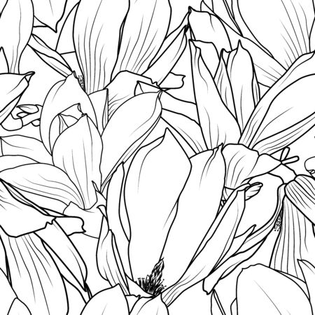 Magnolia flowers seamless pattern texture. Elegant black and white monochrome ornamental line design. Vector design illustration for textile, fabric, print. Vettoriali