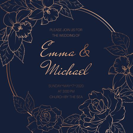 Elegant round vector design frame with narcissus, peony, rose flowers. Luxury shiny gold copper gradient on dark blue navy background. Wedding event invitation card template.