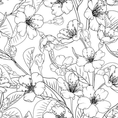 Sakura flowers seamless pattern texture background. Spring asian chinese japanese cherry tree branch leaves bloom blossom. Black and white vector design illustration for textile, fabric, print.