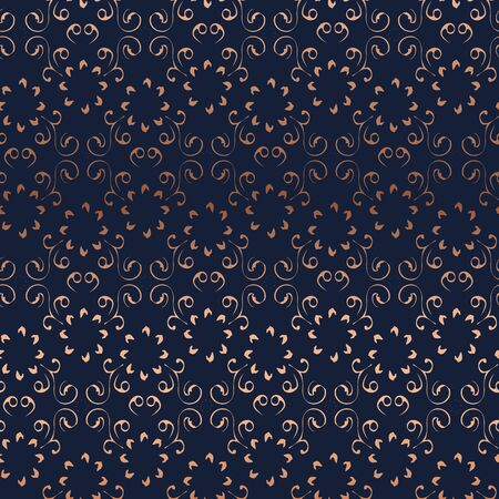 Floral symmetrical seamless pattern texture. Shiny copper gold gradient on dark blue background. Eastern indian persian damask mandala style. Vector design illustration for fashion, fabric, textile. Ilustracja