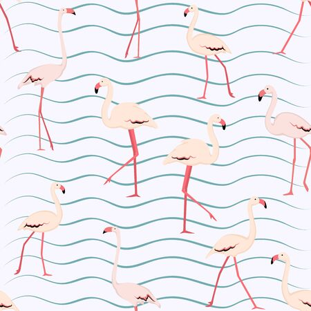 Pink flamingo seamless pattern on white background with blue wave curve lines. Bright wading exotic birds flock. Vector design illustration for fabric, textile, fashion, print.