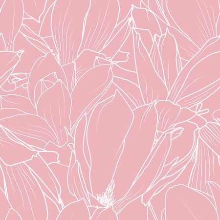 Magnolia spring flowers bloom blossom seamless pattern texture. Elegant ornamental line design. White on pink background. Vector design illustration for textile, fabric, print, fashion.