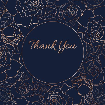 Thank you card template. Rose peony flowers bloom blossom wreath round circle decoration. Copper gold shiny outline navy dark blue background. Floral line design vector illustration.