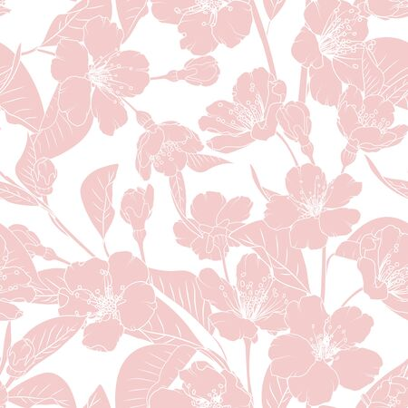 Sakura japanese chinese cherry tree spring flowers bloom blossom seamless pattern. Elegant ornamental line design. Pink on white background. Vector design illustration for textile, fabric, fashion.