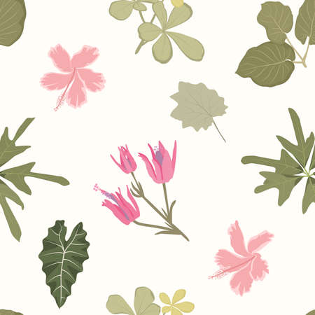 Bright colorful flowers green leaves. Exotic tropical plants. Botanical seamless pattern on beige background. Vector design illustration for fabric, textile, fashion, print. Ilustracja