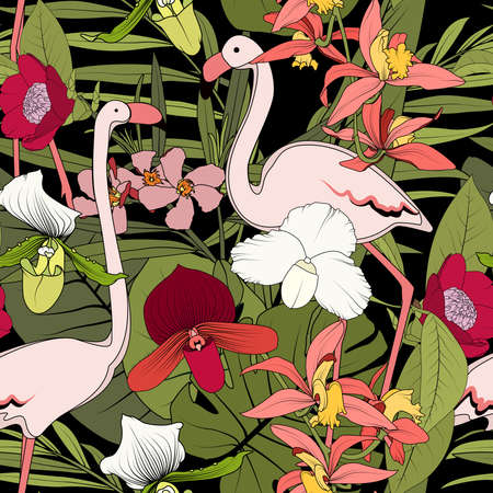 Floral jungle forest seamless pattern. Pink flamingo birds couple, exotic tropical flowers, greenery leaves and plants. Black background. Vector design illustration for fashion, textile, fabric.