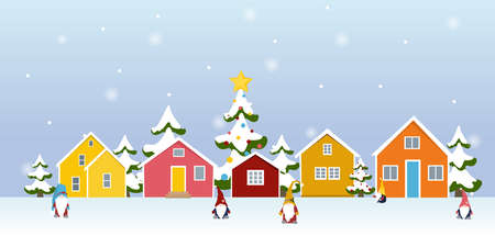 Winter town village landscape with gnome cartoon characters, colorful buildings, christmas trees covered in snow. New year season holidays banner card template. Vector design illustration.