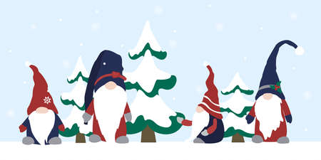 Gnome elf cartoon characters set. Prominent nose, wearing hat. Snowy winter landscape background with fir trees. Scandinavian folklore. Christmas New Year festive season. Vector design elements.