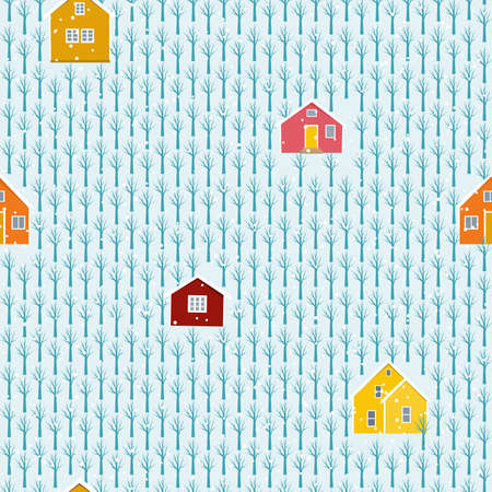 Colorful building winter landscape snowy forest seamless pattern. Vector design illustration.