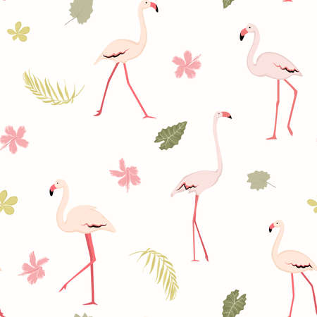 Pink flamingo birds. Tropical greenery. Exotic flowers. Seamless pattern texture. Colorful on white background. Vector design illustration for fashion, textile, fabric, decoration.