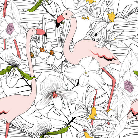 Pink flamingo birds couple, exotic tropical flowers, greenery leaves and plants. Coloring style seamless pattern. Black outline on white background. Vector design illustration. Vettoriali