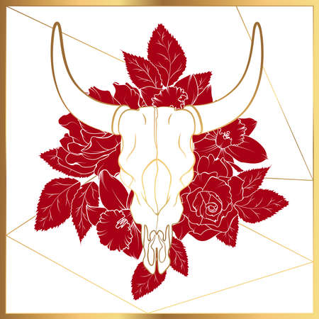 Bull cow dead animal head skull bones horns. Golden gradient line design. Red rose peony floral decoration. White background. Realistic vector illustration. Ethnic tribal occult boho style. Vettoriali